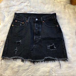 Levi's Black Distressed Denim Mini Skirt
